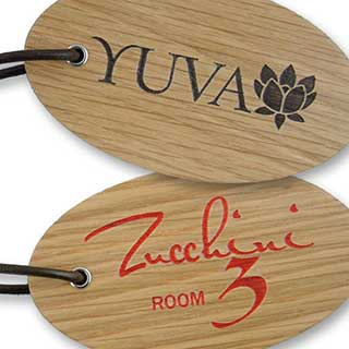 Key Tags - Chunky Solid Wood Engraved Key Tag - Oval