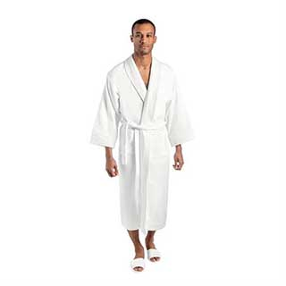 Hotel Bathrobes - Luxury Velour And Terry Towelling - Shawl Collar - White