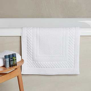 Hotel Bath Mat - Luxury Chequers Design - 100% Cotton - 1000gsm - 50x80cm - White