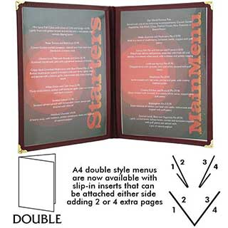 Menu and Wine List Covers - American Style - Pvc - Double