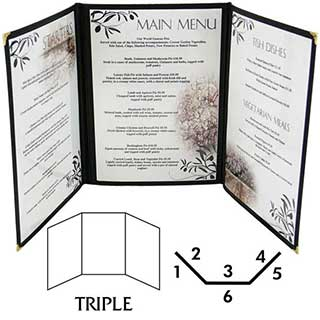 Menu and Wine List Covers - American Style - Pvc - Triple