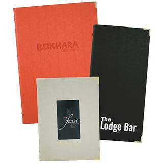 Menu and Wine List Covers - Textured Linen-like Fabric - A4 Size