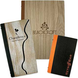 Menu and Wine List Covers - Wooden - A4 Size