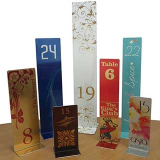 Hotel Table Signs - Metal Table Number Stands