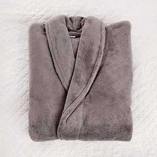 Microfibre Bathrobe - 100% Polyester - 300gsm - Shawl Collar - Large - Grey