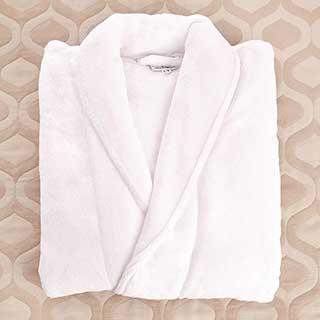 Microfibre Bathrobe - 100% Polyester - 300gsm - Shawl Collar - White