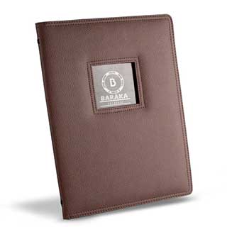Monte Carlo Window Menu Cover - Windowed Leather Style - Tag Fixing - A4 Size