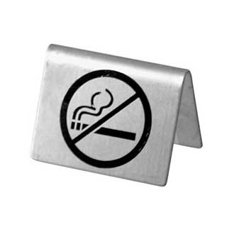 No Smoking Signs - Tent Sign - Stainless Steel With Brushed Finish