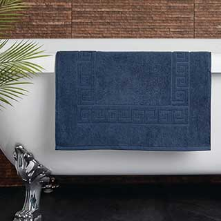 Hotel Bath Mat - Towelling - Nova Design - High Quality- 100% Cotton - 700gsm - 50x80cm - Navy