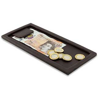 Bill Presenter - Open Face - Textured Faux Leather - 107x230mm - Tray & Magnetic Clip Design