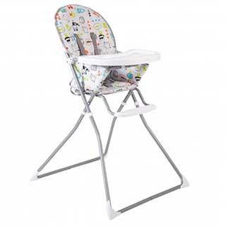 High Chair- Padded Folding High Chair - Green / White