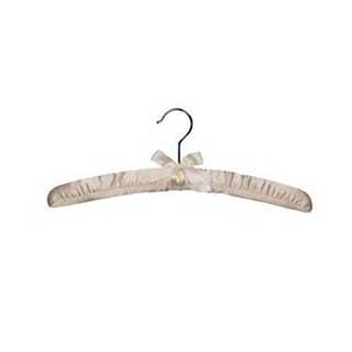 Hotel Padded Satin Coat Hanger - Standard Metal Hook - 50 Per Case - Ivory