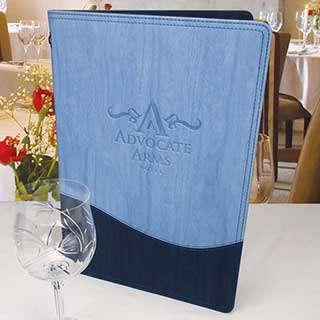 Padded Wood Effect Menu Covers - Wave Design - Tag Fixing - A4 Size