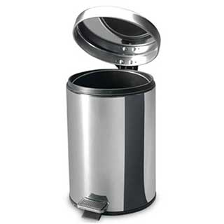 Hotel Bathroom Pedal Bin - Elegance Design - 3 Litre - Polished Stainless Steel