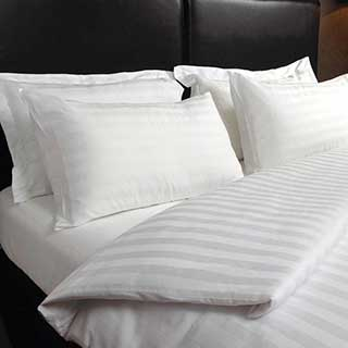 Hotel Pillow Cases - 2.5cm Satin Stripe - 250tc 100% Cotton - Pair - White