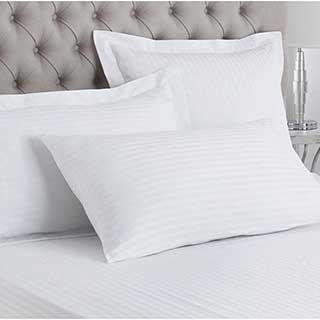 Hotel Pillow Cases - Oxford Style - 1cm Satin Stripe - 100% Cotton - 250tc - Pair - White