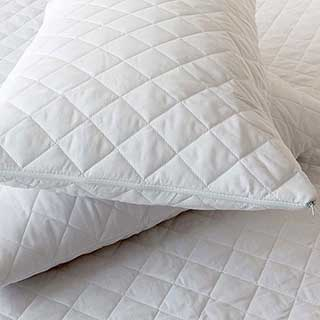 Pillow Protector - Luxury Quilted Diamond Design - 100% Microfibre - Zip Fastening - Pair - White