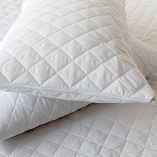 Hotel Pillow Protector - Quilted Diamond - 65% Polyeter/35% Cotton - Zipped End - White
