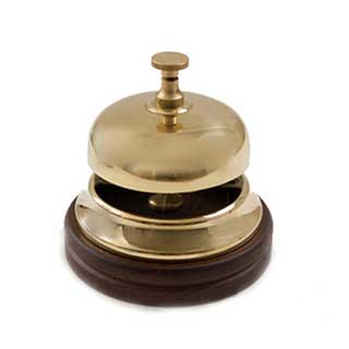 Hotel Reception Bell - Polished Brass And Mahogany