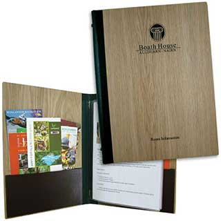 Guest Room Folders - Wood Grain Laminate - A4 Size - Tag Fixing
