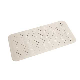 Hotel Rubber Bath Mat - Natural Rubber With Safety Suckers - 34x74cm - White