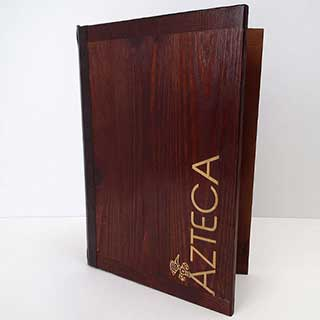 Rustic Wooden Engraved Menu Covers - Tag Fixing - A4 Size