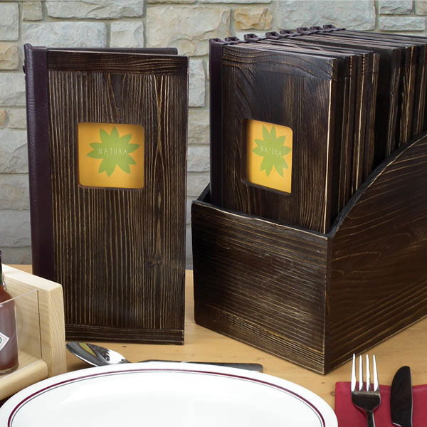 Rustic Wooden Window Menu Covers Tag Fixing Slim Size