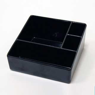 Sachet Holder/ Presentation Tray - Melamine - Four Compartments- Black
