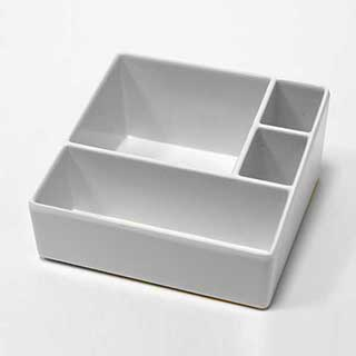 Sachet Holder/ Presentation Tray - Melamine - Four Compartments- Ivory