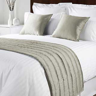 Sicily Design Quilted Bed Runner - High Quality Faux Silk - Bisque