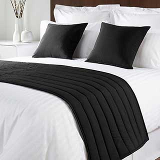 Sicily Design Quilted Bed Runner - High Quality Faux Silk - Black