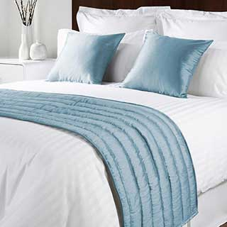 Sicily Design Quilted Bed Runner - High Quality Faux Silk - Cool Blue