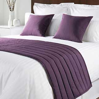 Sicily Design Quilted Bed Runner - High Quality Faux Silk - Lilac