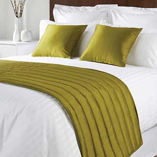 Sicily Design Quilted Bed Runner - High Quality Faux Silk - Lime