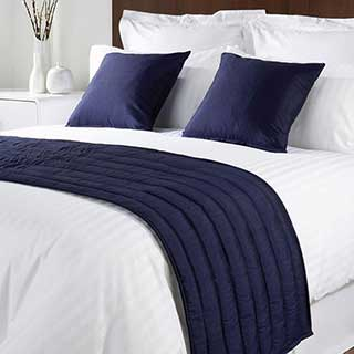 Sicily Design Quilted Bed Runner - High Quality Faux Silk - Navy