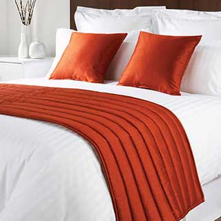 Sicily Design Quilted Bed Runner - High Quality Faux Silk - Rust