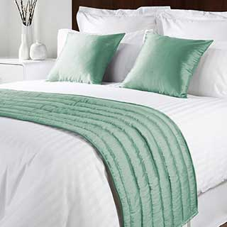 Sicily Design Quilted Bed Runner - High Quality Faux Silk - Sea Green