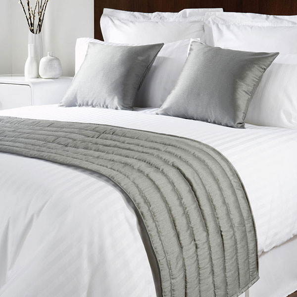 Sicily Design Quilted Bed Runner High Quality Faux Silk Slate