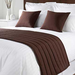 Sicily Design Quilted Bed Runner - High Quality Faux Silk - Walnut