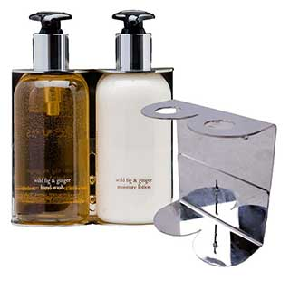 Hotel Toiletries - Double Stainless Steel Wall Bracket Soap Dispensers - Polished Stainless