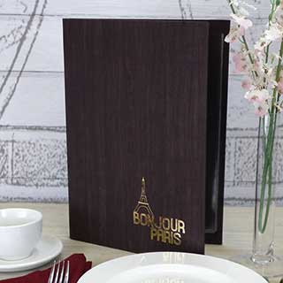 Soft Synthetic Wood Effect Menu Covers - Tag Fixing - A4 Size
