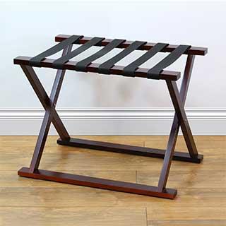 Hotel Luggage Rack - Solid Wood - Folding - Walnut Finish