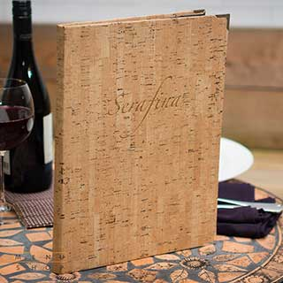 Menu And Wine List Covers - Synthetic Cork - A4 Size - Tag Fixing - Clear Pockets