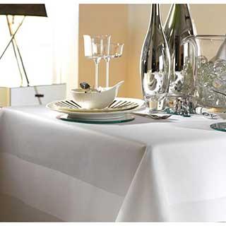 100% Cotton Satin Band Table Linen - 200gsm - White
