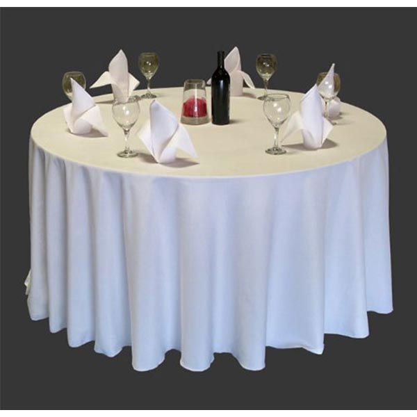 plain polyester hotel table linen circular white and pastel colours. Black Bedroom Furniture Sets. Home Design Ideas