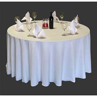 Plain Polyester Hotel Table Linen  - Circular - White And Pastel Colours