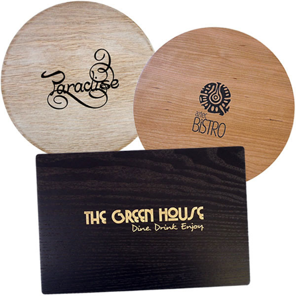 Wooden hotel table mats and coasters for Table mats design your own