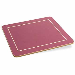 Hotel Table Mats - Plain Melamine Table Mats And Coasters - Burgundy