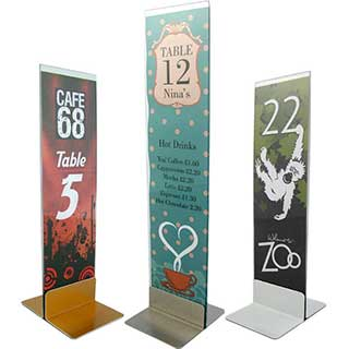 Hotel Table Signs - Table Number Stand - Metal and Acrylic