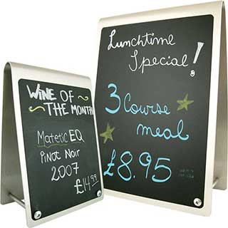 Table Signs - Curved Top Metal Blackboard